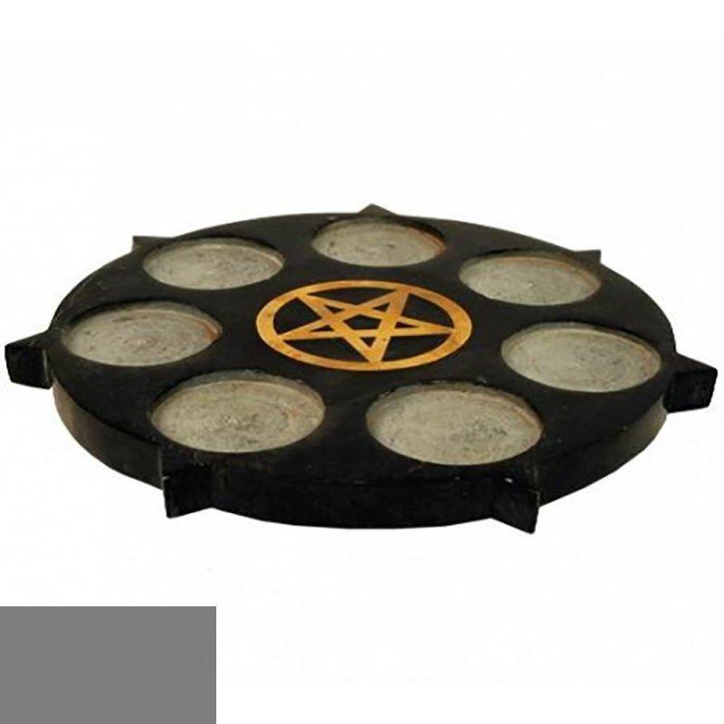 pentagramm kerzenhalter f r sieben teelichter aus schwarzem speckstei 29 59. Black Bedroom Furniture Sets. Home Design Ideas